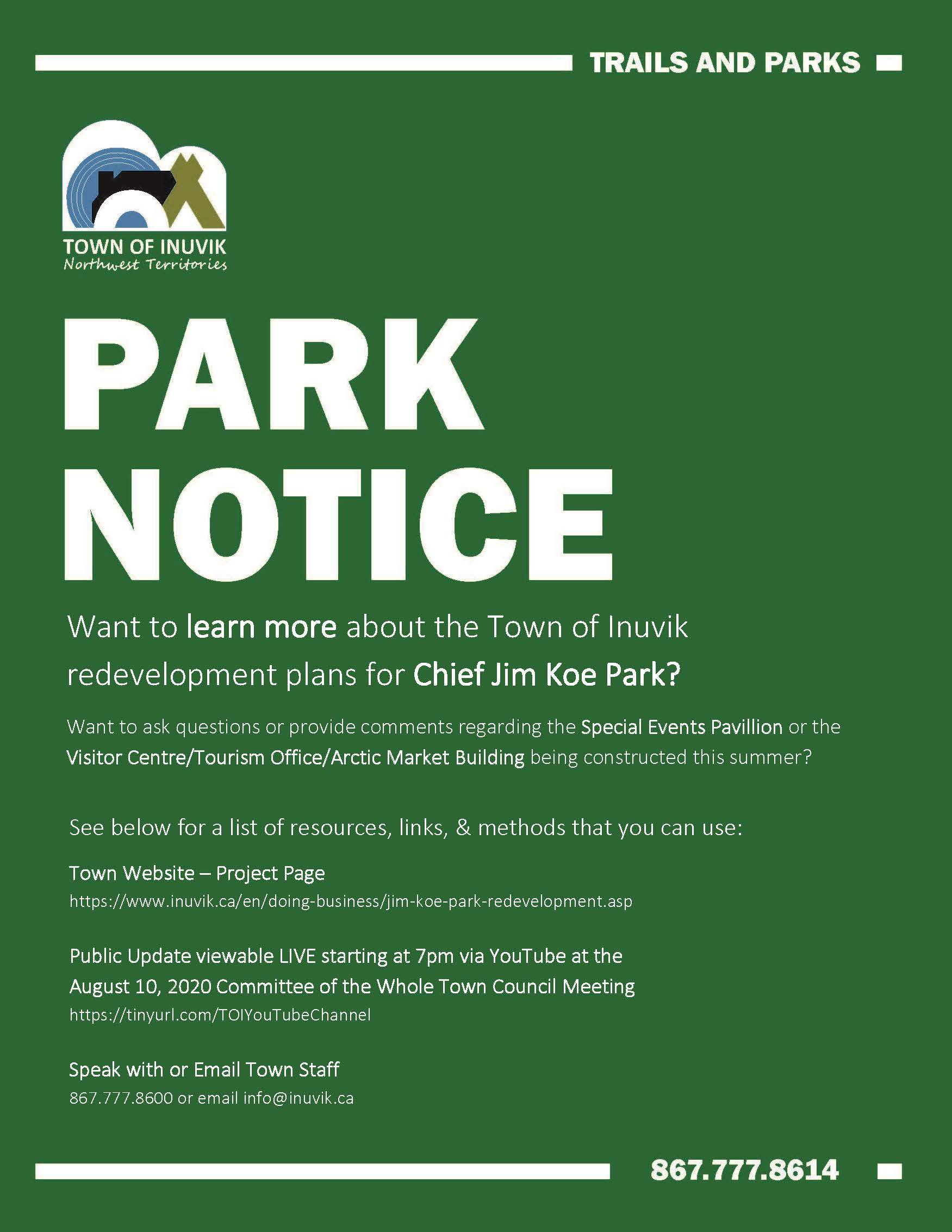 PARKS UPDATE - LEARN MORE - CHIEF JIM KOE PARK - JULY 26 2020