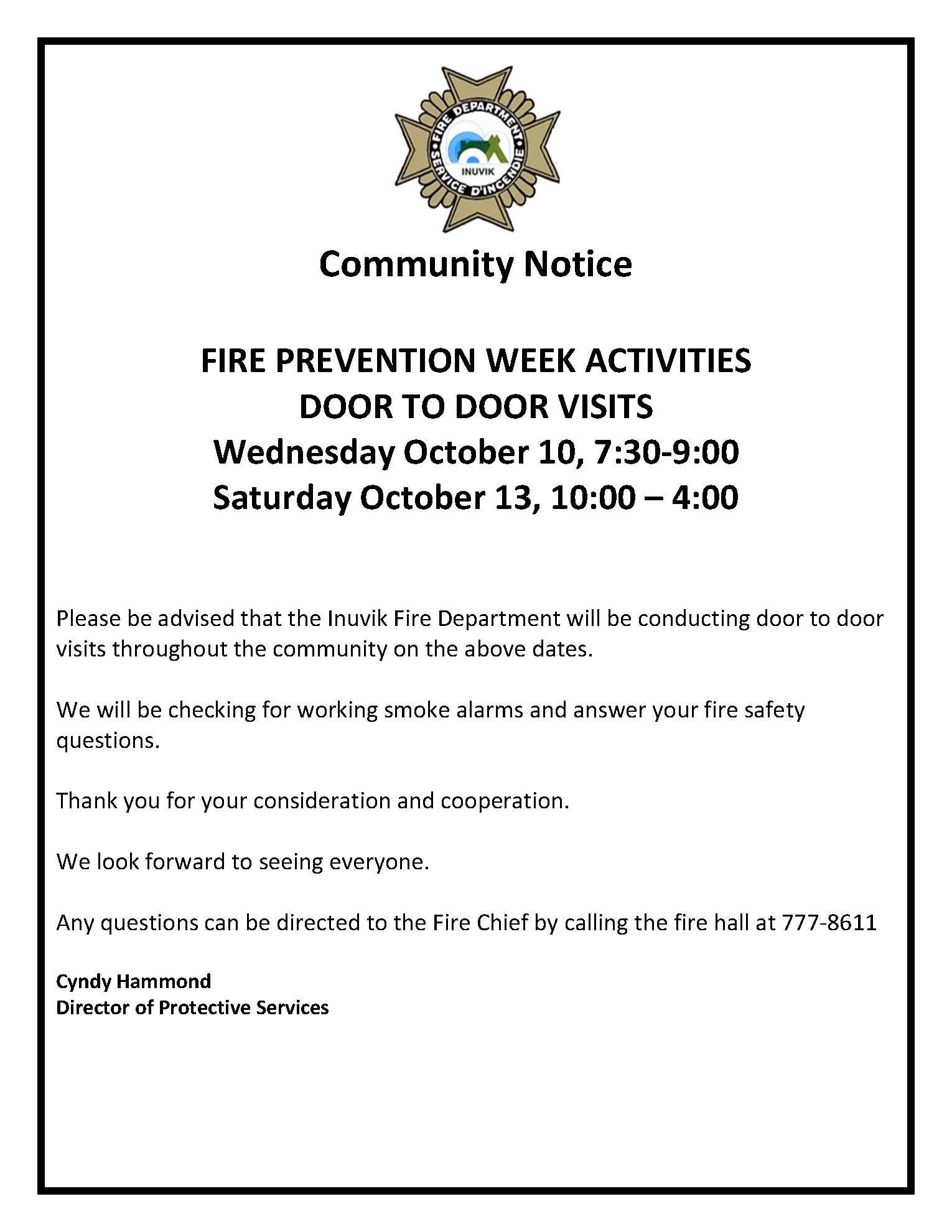 Community Notice for Door to Door Campaign
