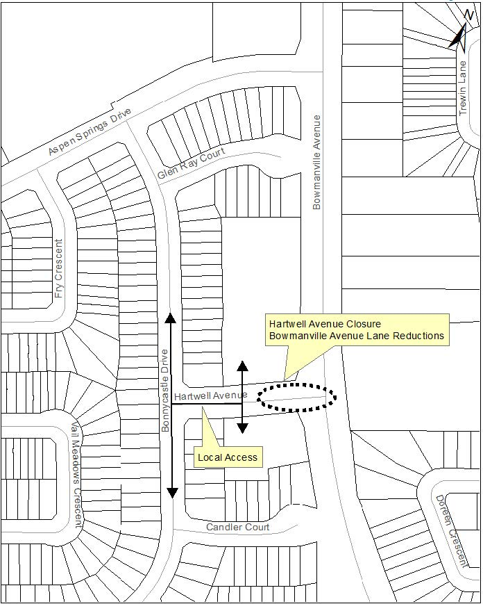 Hartwell Avenue closure map
