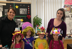 Students wearing funny hats