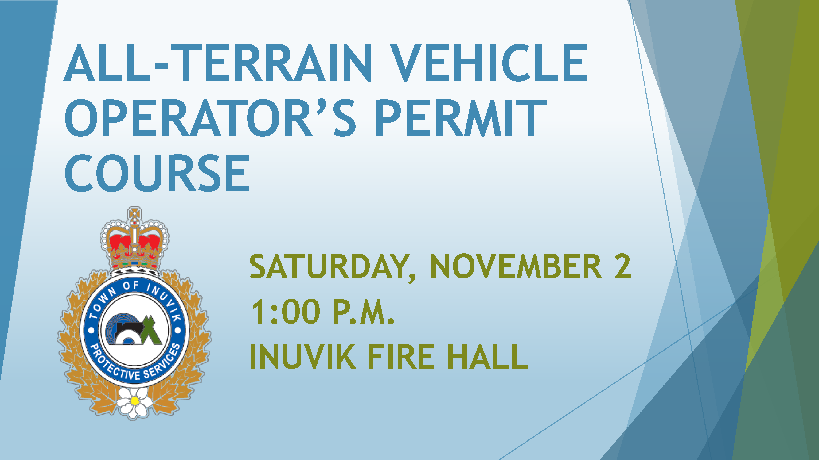 ALL-TERRAIN VEHICLE OPERATOR'S PERMIT COURSE