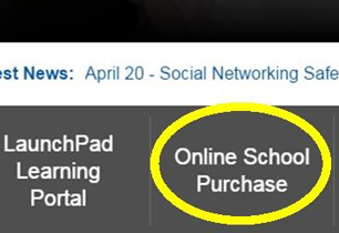Online School Purchase circled in yellow on a school website
