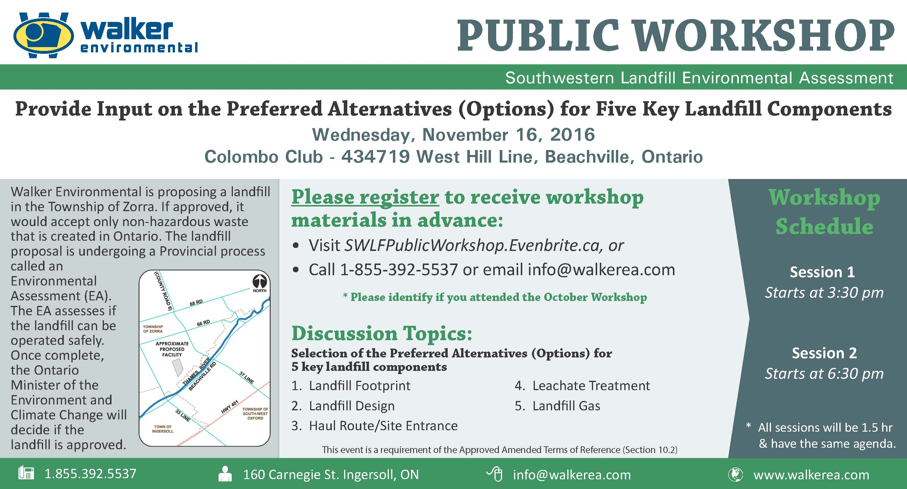 Southwestern Landfill November 16 Public Workshop Ad